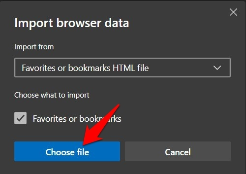Choose file for Favorites Import in Edge Computer