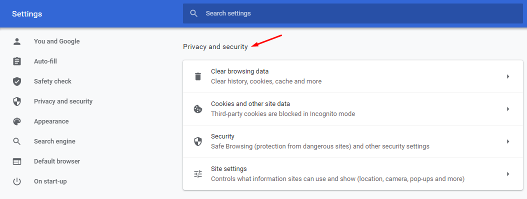 Chrome Privacy and Security section