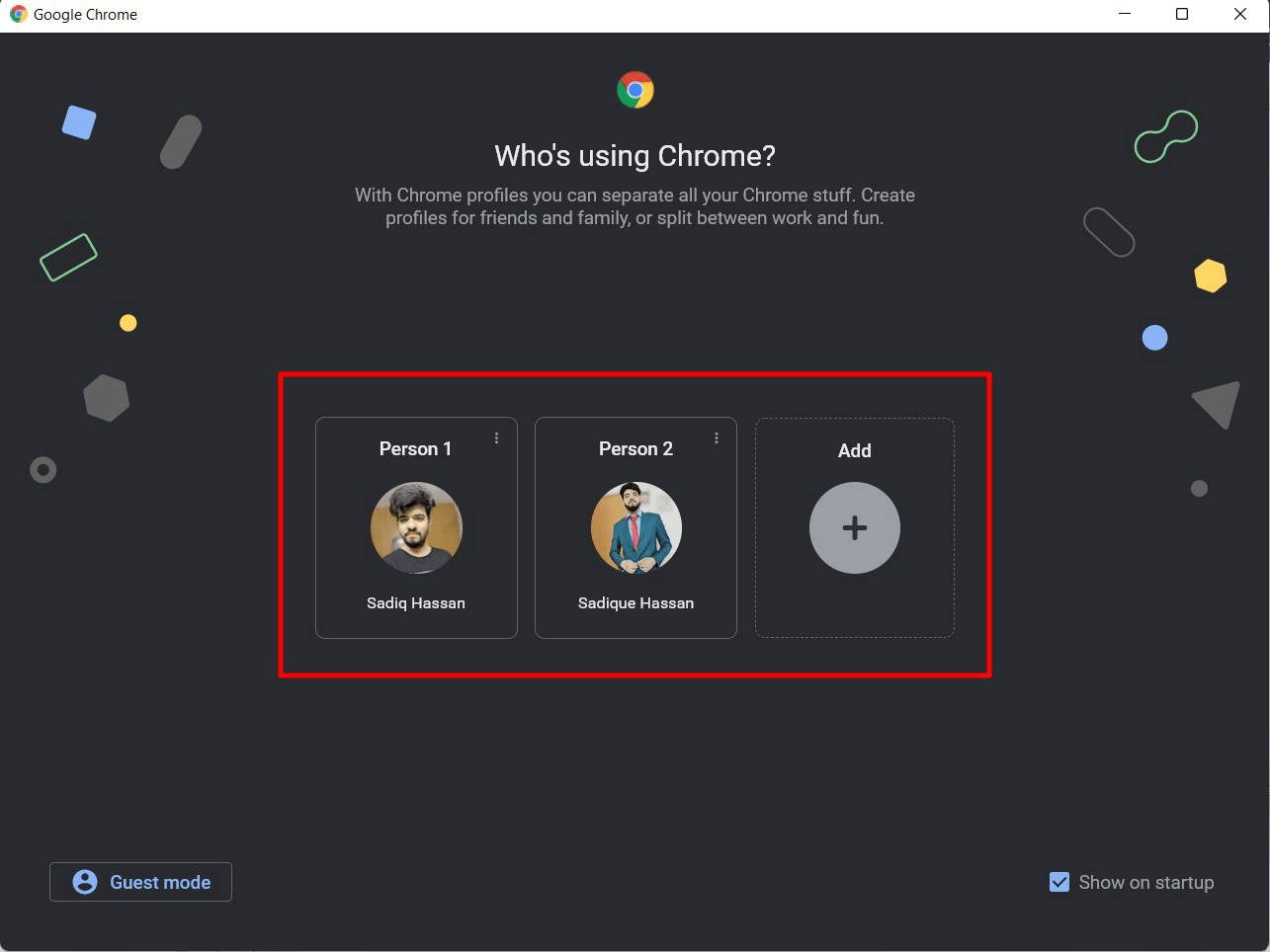 Chrome Profile Selector window at Startup