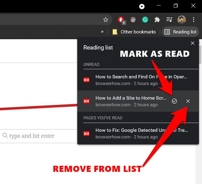 Chrome Reading List Remove Page or Mark as Read