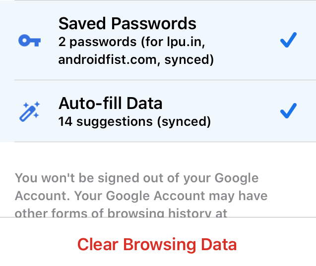 Chrome iOS Clear Saved Passwords and Autofill Data