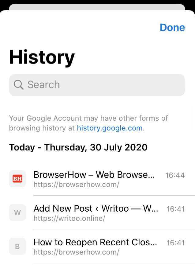 Chrome iOS History Tab with Recent History