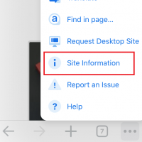 Chrome iOS Site Information Tab