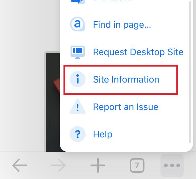 Chrome iOS Site Information Tab