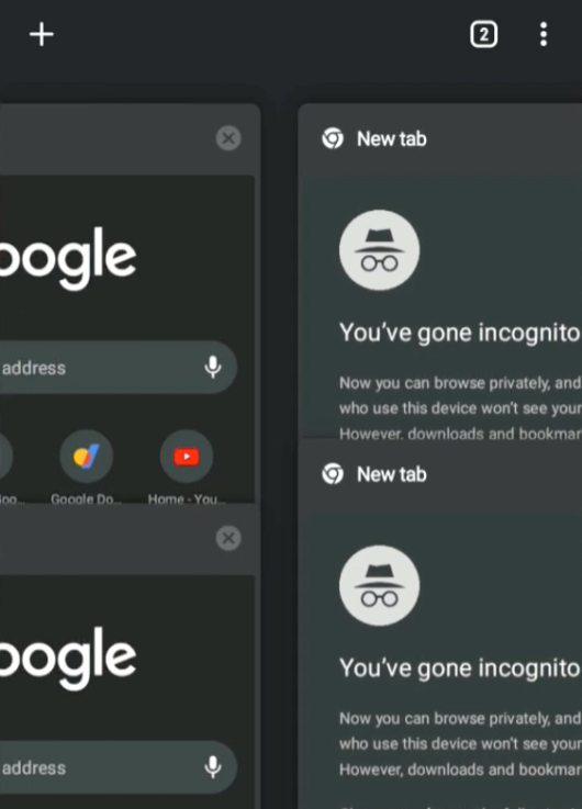 Chrome Android New Incognito Tab