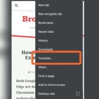 Chrome Android Translate Option