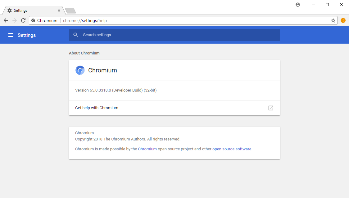 Chromium browser for Windows with About page