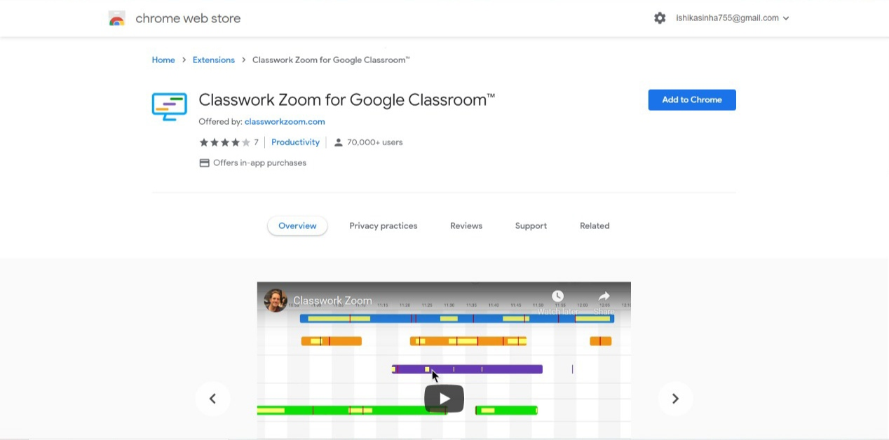 Classwork Zoom for Google Classroom extension