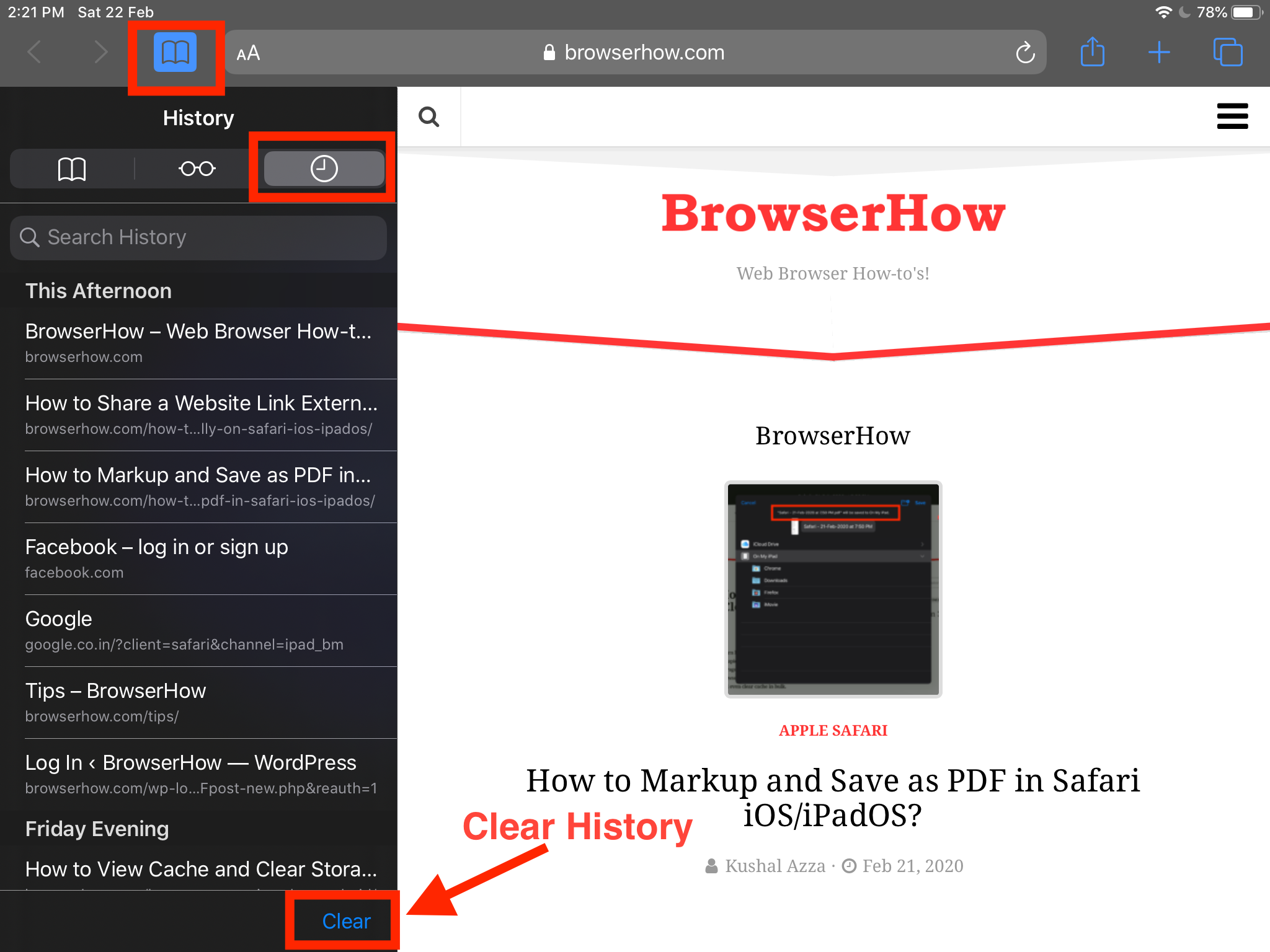 Clear Browser History from Safari on iOS and iPadOS