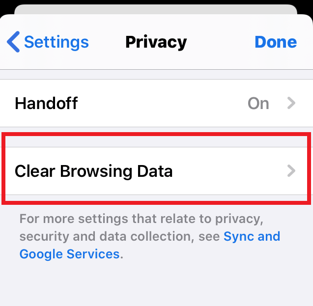 Clear Browsing Data under Chrome iPhone Privacy Settings