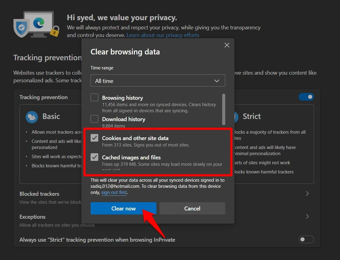 Clear Cookies and Cache Images files from Edge Browser
