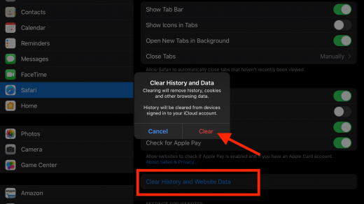 Clear History Cookies and Cache data from Safari Settings in iPhone and iPad