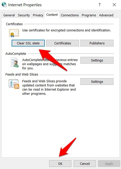 Clear SSL State from Internet Options in Windows