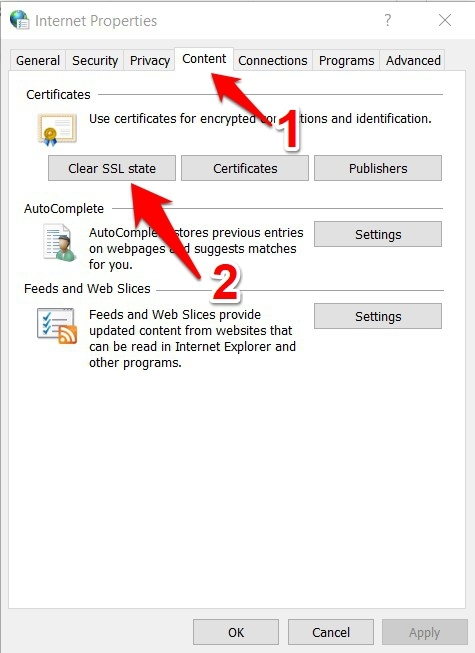Clear SSL State in Windows OS Internet Properties setting