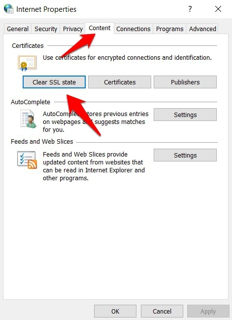 Clear SSL State under Internet Options in Windows 10