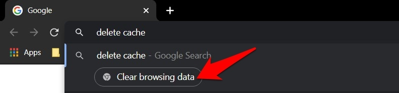 Clear browsing data Google Chrome Actions