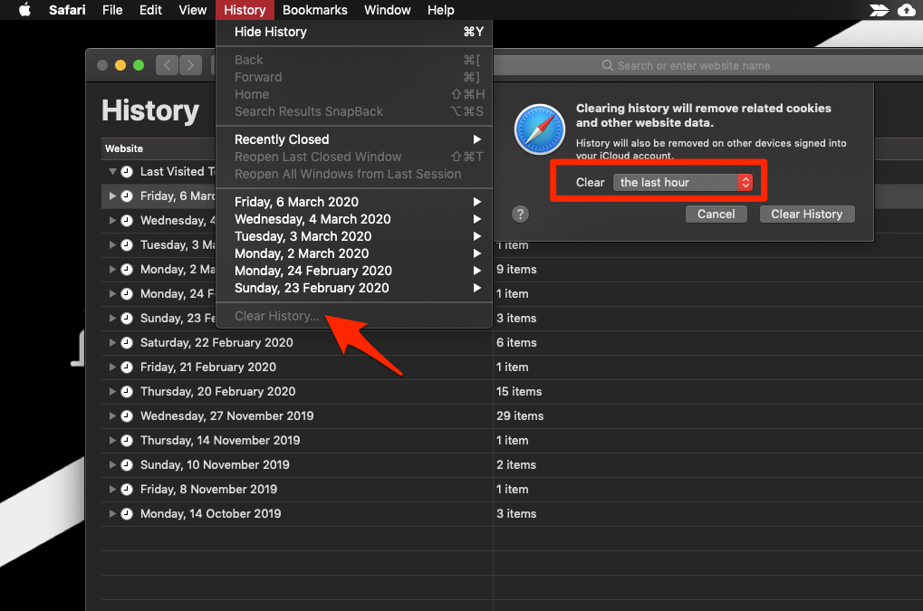 Clear History from Safari MacOS computer