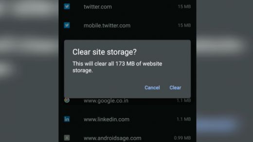 Clear all Site Storage Chrome Android