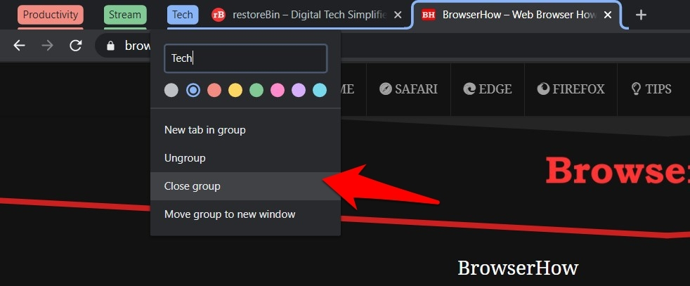 Close group in chrome browser