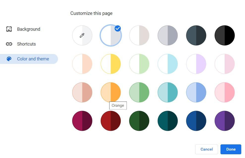 Color and Theme options for Chrome Browser