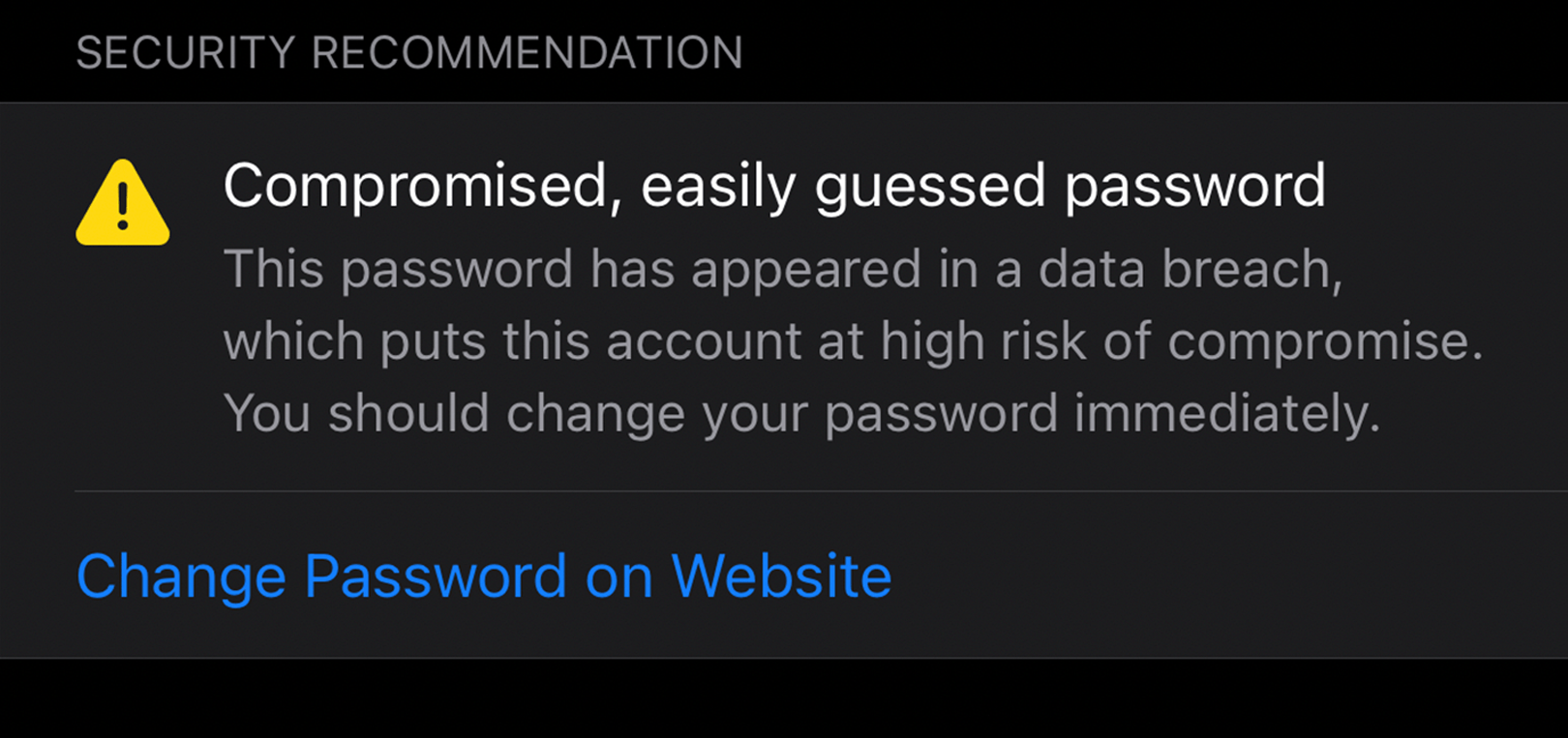 Compromised and easily guessed password alert in Safari browser