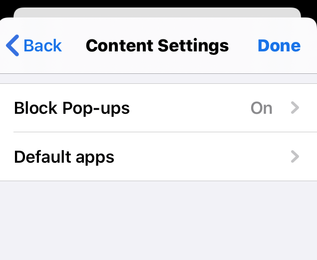 Content Settings in Chrome iPhone