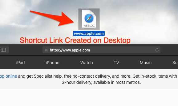 Create Apple Safari Page URL Shortcut Link
