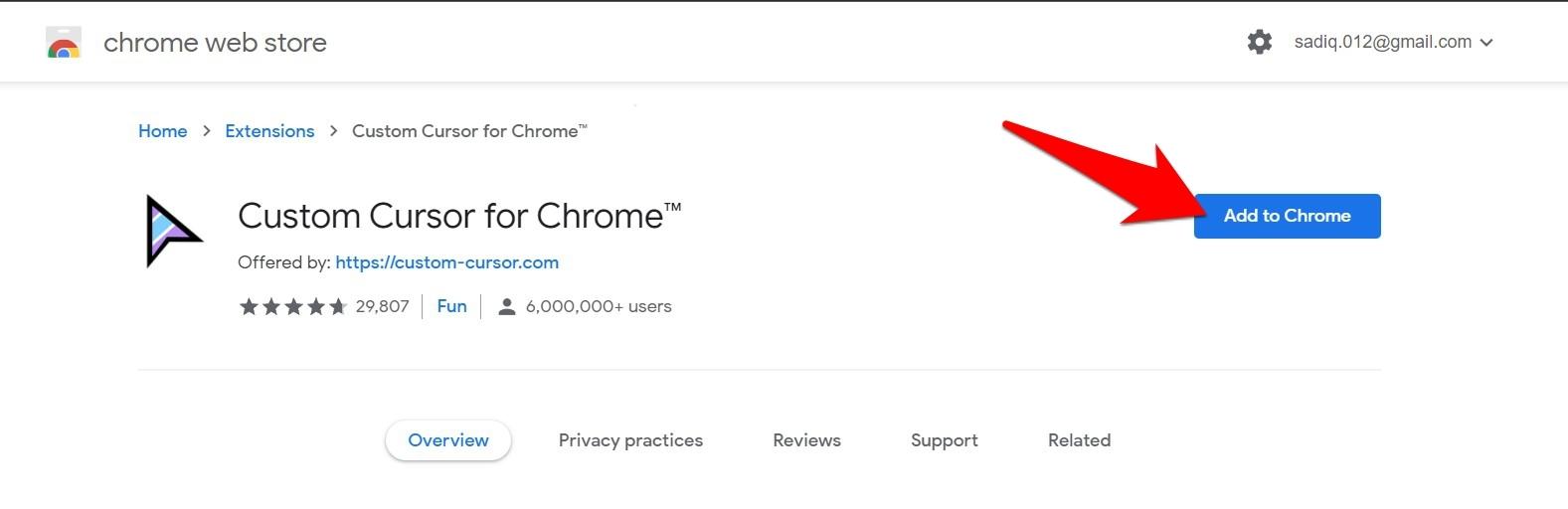 Cursor Custom for Chrome Add to Chrome command