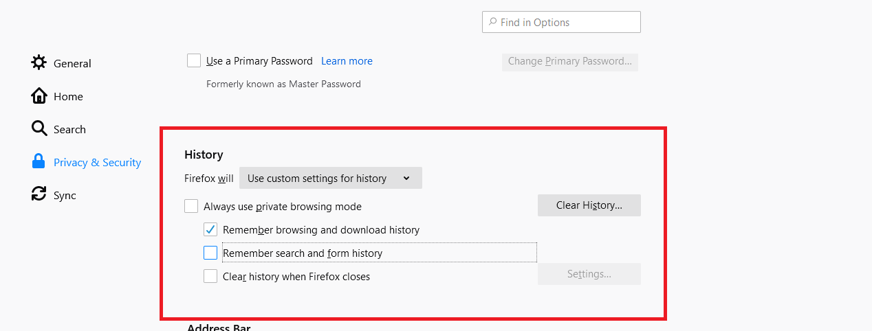Customize Firefox History Settings