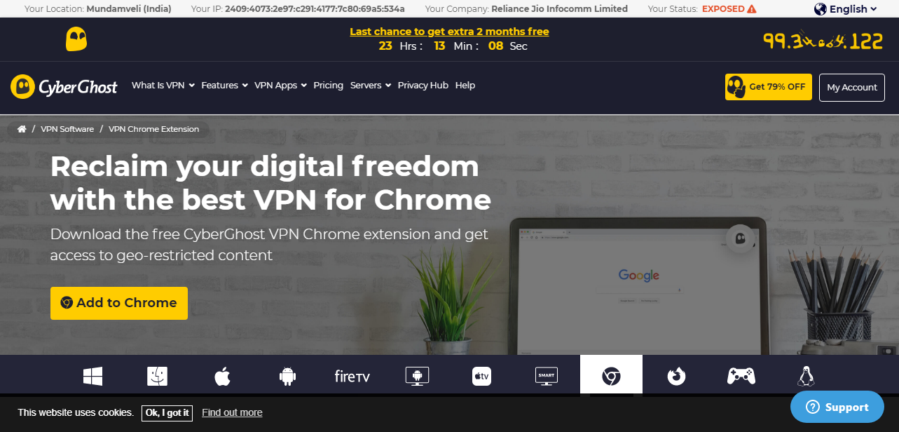 CyberGhost VPN service homepage add to chrome
