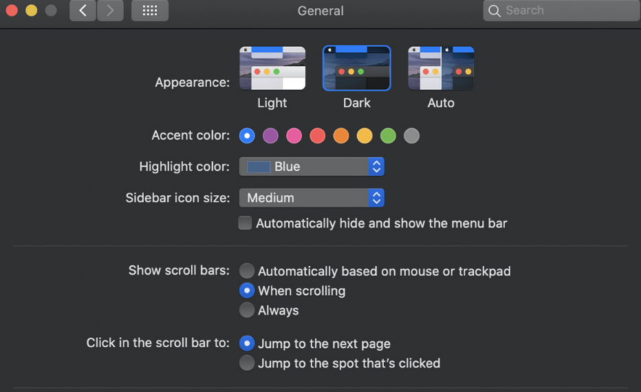 Dark Appearance in Mac Settings