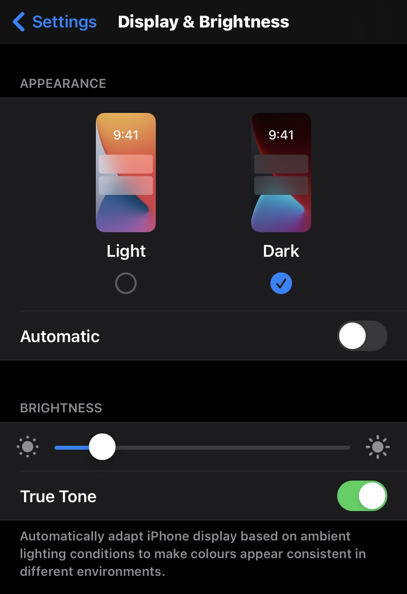 Dark Display and Brightness Settings in Apple iPhone