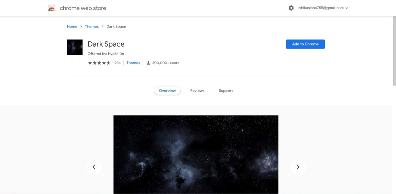 Dark Space Chrome Browser Theme