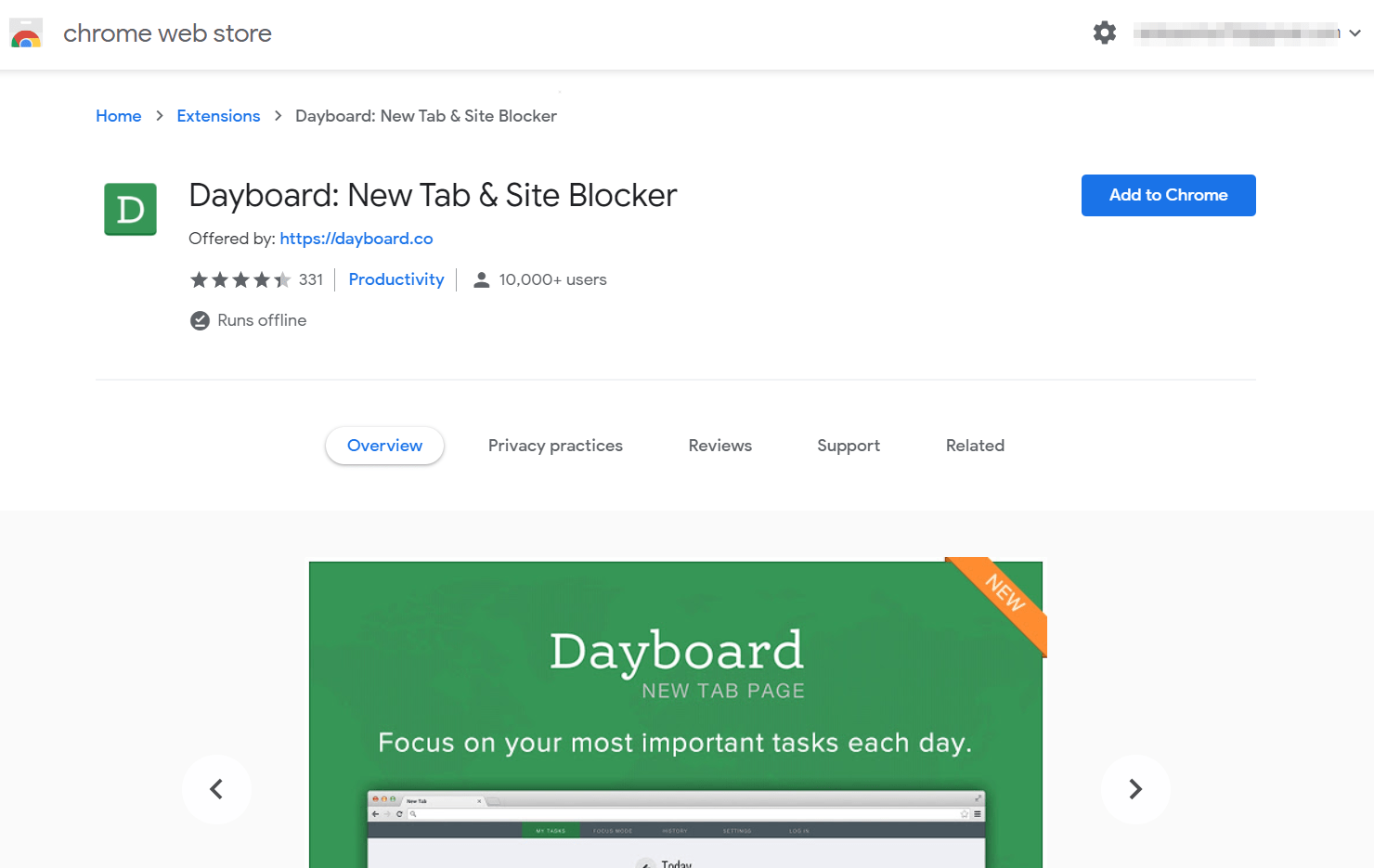 DayBoard New Tab and Site Blocker Chrome Extension