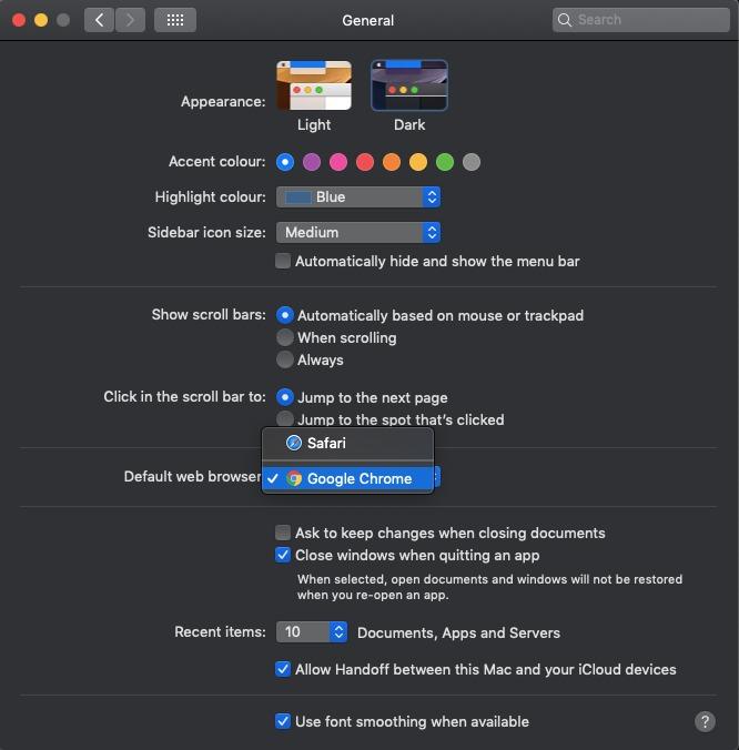 Default web browser general settings in mac