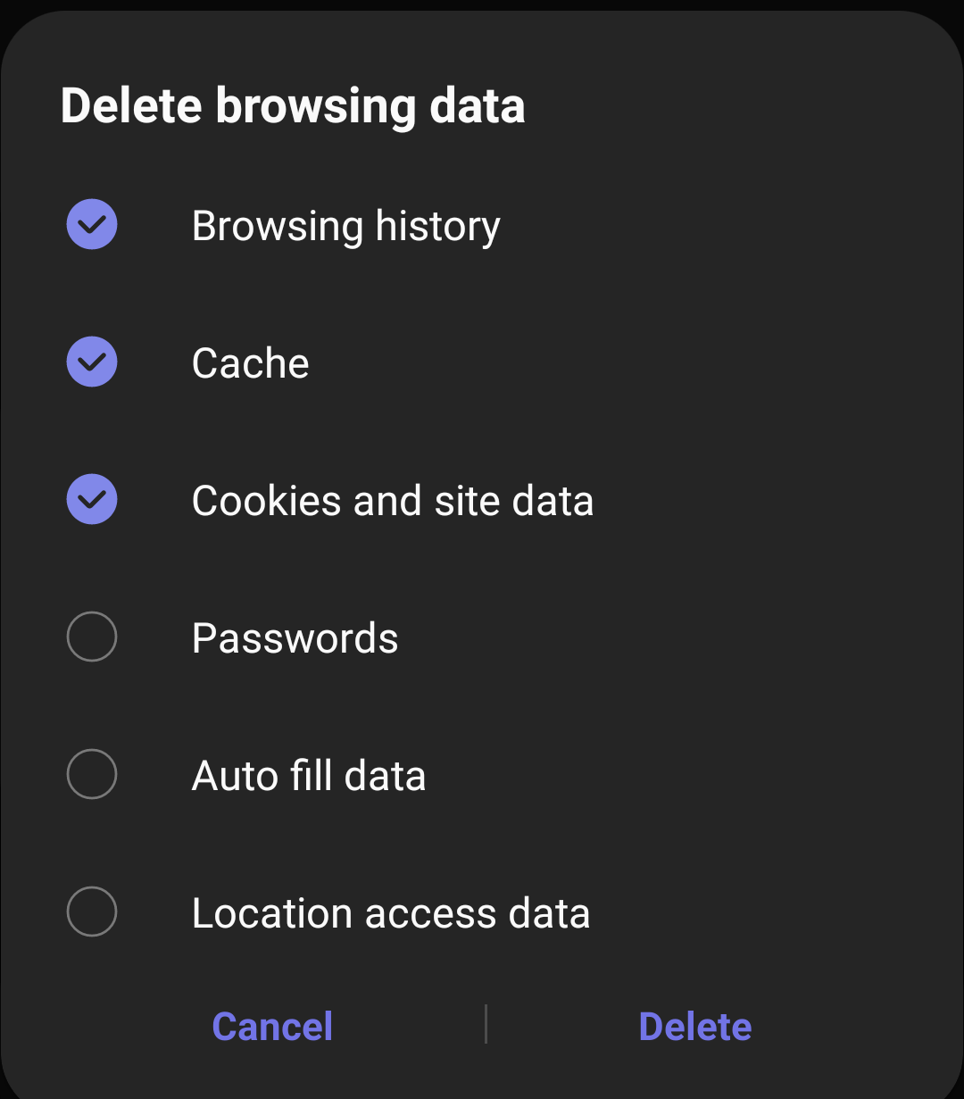 Delete browsing data - History Cookies and Cache from Samsung Internet