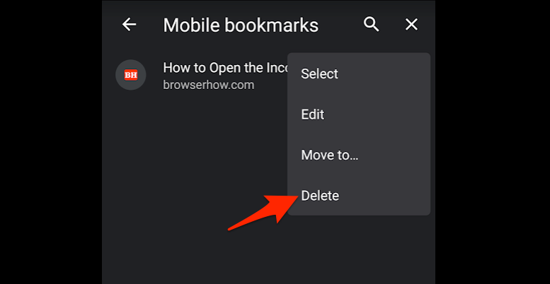 Delete Chrome Android Bookmarks