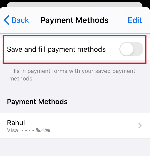 Disable Autofill Card Payment Method in Chrome iOS