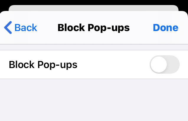 Disable Block Pop-ups option in Chrome iPhone