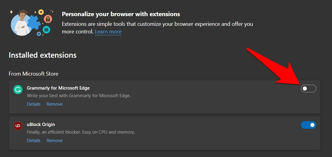 Disable Edge Browser Extensions