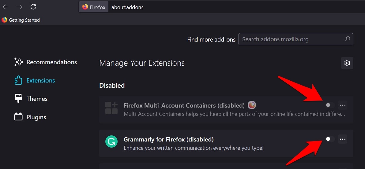 Disable Firefox Add-ons and Extensions