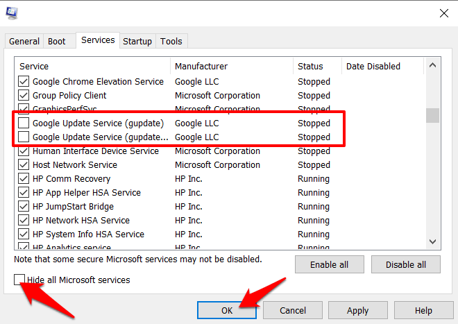 Disable Google Update Service from Microsoft Configuration settings