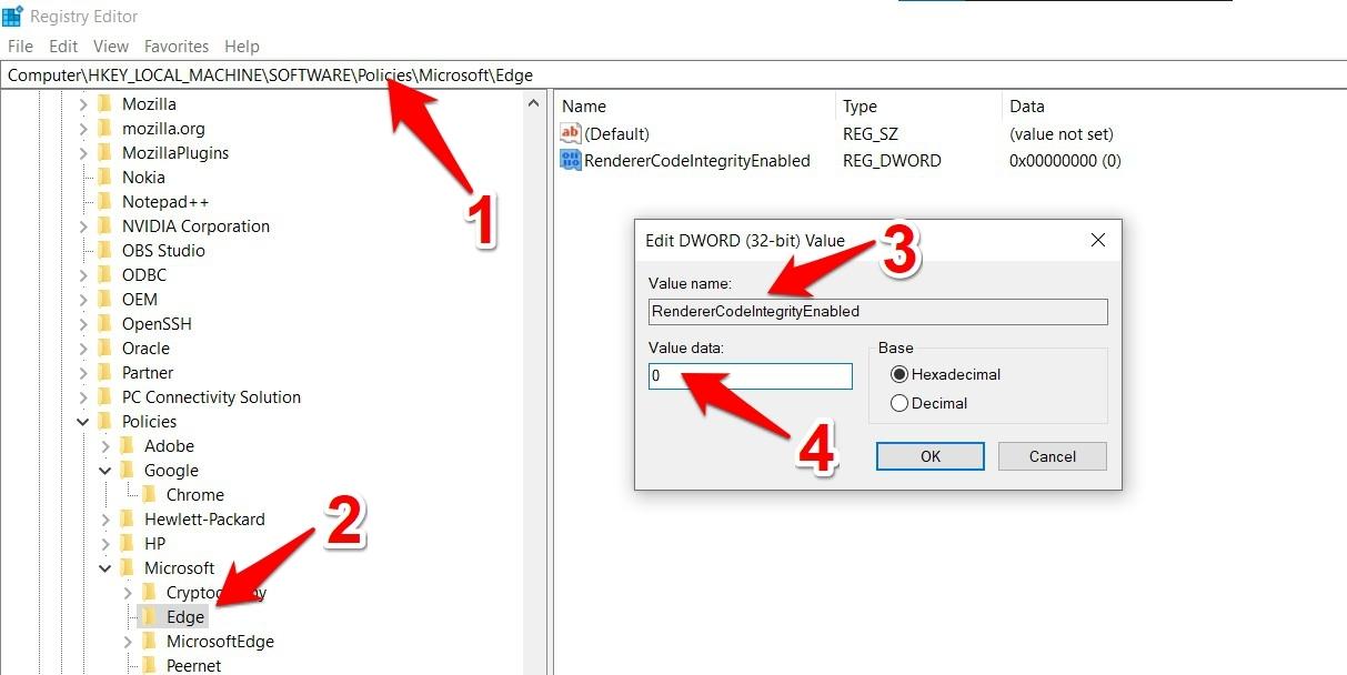 Disable Renderer Code Integrity in Microsoft Edge Manually in Registry Editor