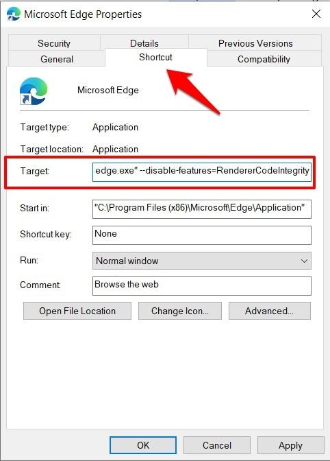 Disable Renderer Code Integrity in Microsoft Edge