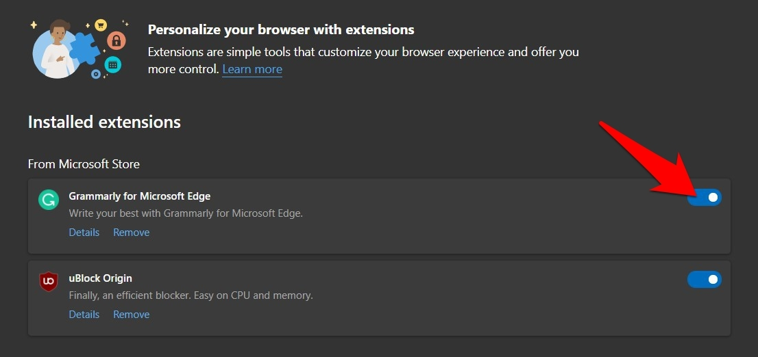 Disable the Edge browser extensions