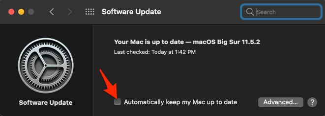 Disable Automatically keep my Mac up to date