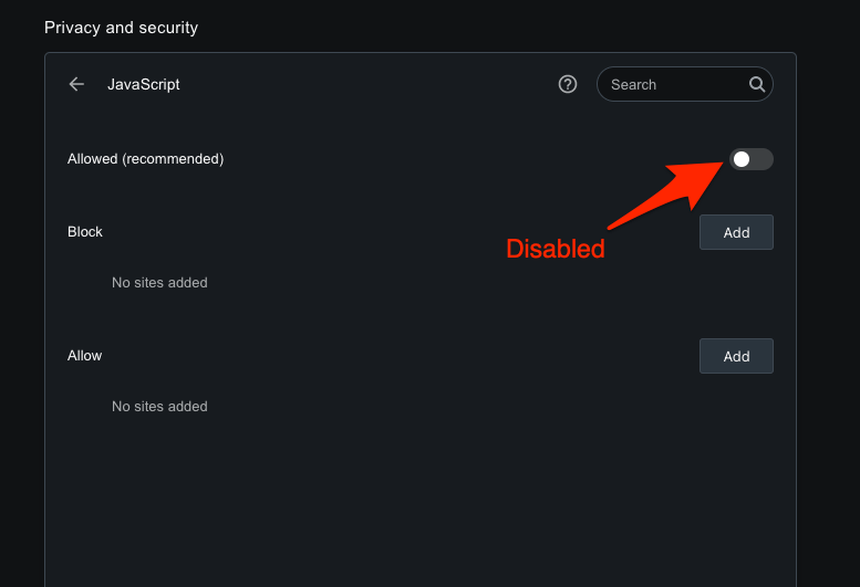Disable the JavaScript execution on Opera computer browser