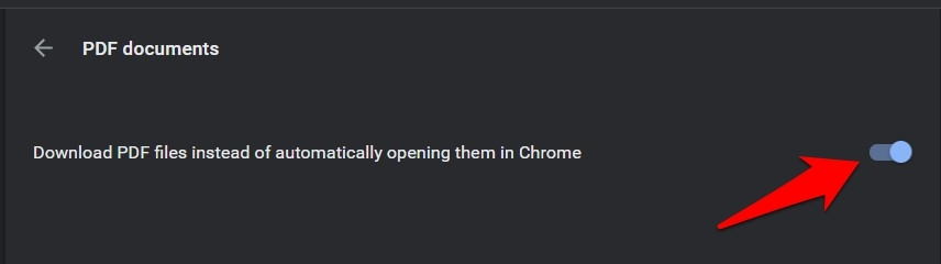 Download PDF files instead of automatically opening them in Chrome toggle