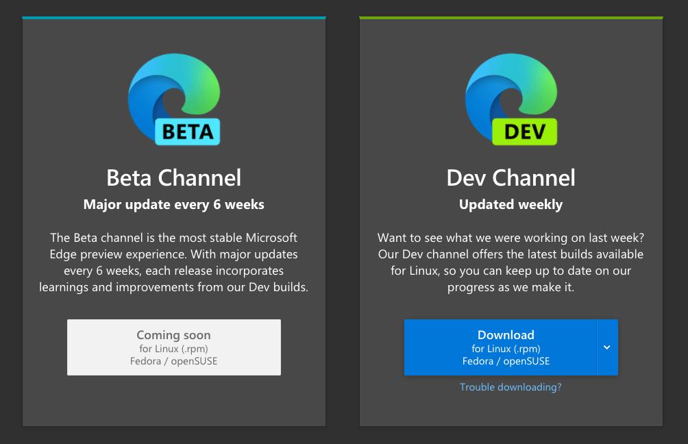 Download Microsoft Edge Linux Channels