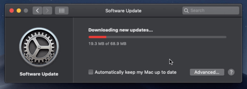 Downloading new updates - Mac Software Update